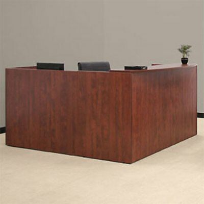 RECEPTION DESK Office Receptionist Station L Shaped Cherry Mahogany Wooden Wood