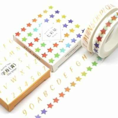 Washi Tape - Slim Skinny 2 Piece Set Colourful Stars and Letters 8mm x 8m