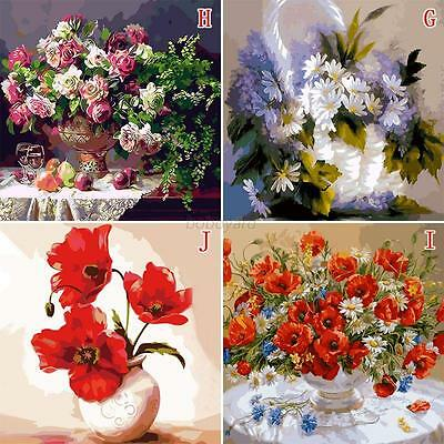 DIY Flower Paint By Number Digital Oil Painting Pictures On Linen House Decor