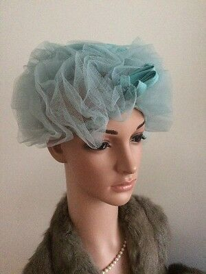 VINTAGE 50s PILL BOX HAT BLUE NET & SATIN FROTHY RETRO WEDDING COUTURE JACKY 'O'