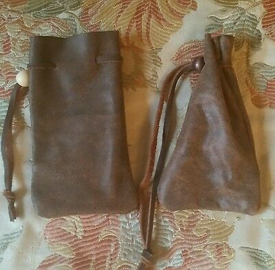 Small brown leather bag pouch drawstring renaissance medieval dice coin