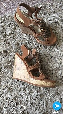 New Look Tan Suede Wedges Size 3