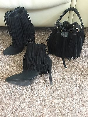 Zara Tassel Ankle Boots And Matching Bag