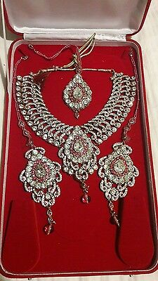 New Indian Bridal Fashion Necklace Earrings Costume Jewellery Set