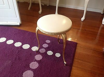 Metal Frame Stool White and Gold