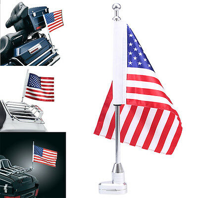 Motorcycle Rear Flag Pole Sewn&Stripes Flag Mount For Harley 883 1200XL Fat Bob