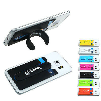 Pro Silicone 3M Adhesive Back Cover Credit Card Holder Case Pouch For Cell Phone