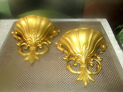 Vintage 1962 Dart Industries Pair Of Gold Colored Plastic Wall Pockets