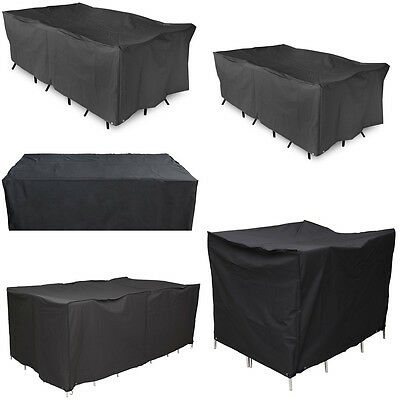120-308cm Black Waterproof Outdoor Furniture Garden Table Chair Cover Shelter AU