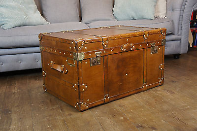 Finest English Leather Steamer trunk Coffee Table