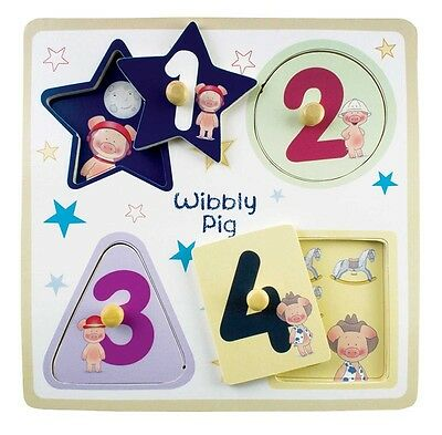 Brand New Wiggly Pig Wooden Peg Kids Puzzle 4 Little Pieces Shapes and Numbers