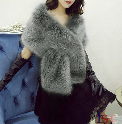 Faux Fur Grey Bridal Wedding Shrug Scarf Shawl Stole Wrap Cape Long Warm Elegant
