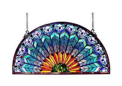 Tiffany Style Half Round Stained Glass Pattern Panel Hanging Wall Decor Art NEW