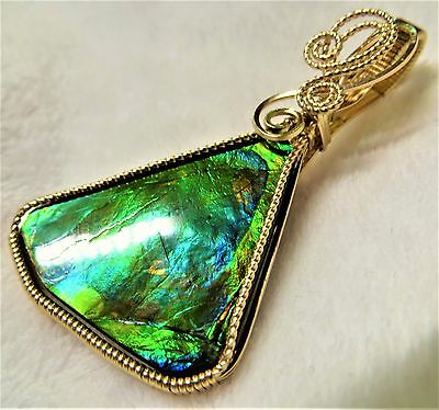Canadian Ammolite Gemstone Pendant Handcrafted in 14K Gold Filled