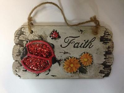 Faith Wall Hanging Ladybird Stone Garden Plaque Sign Grave Ornament Ladybirds