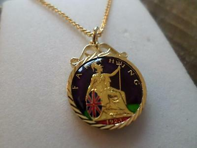 Vintage Hand Painted & Enamelled Farthing Coin 1923 Pendant & Necklace