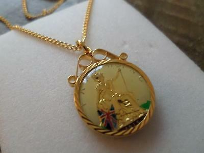 Vintage Hand Painted & Enamelled Farthing Coin 1915 Pendant & Necklace