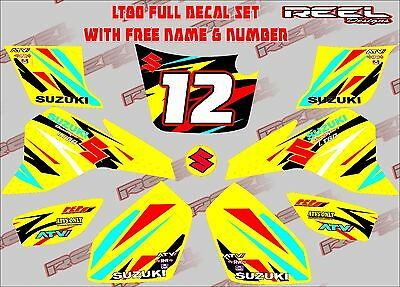suzuki lt80 quad graphics stickers decals free name & number lt 80 atv y/blu