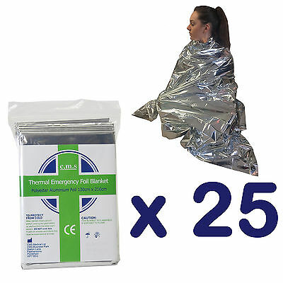 25x Emergency Thermal Rescue Camp Silver Foil First Aid Survival Foil Blankets