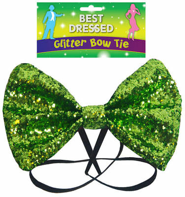 Green Glitter Bow Tie - Fancy Dress Costume Large - Outfit Party