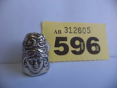 Vintage .925 Solid Silver Thimble with Woman Head Decoration