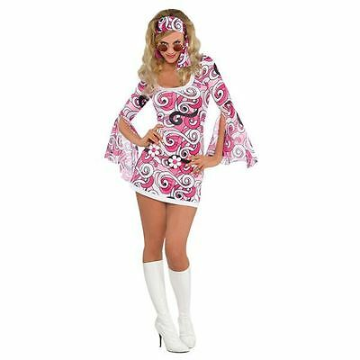 Ladies Ivanna GoGo 60s Hippy Chick Fancy Dress Costume Womens Outfit Size 8-10