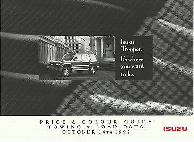 ISUZU TROOPER SWB LWB 3.2V6 3.1TD price list 1992 1993 UK market prices brochure