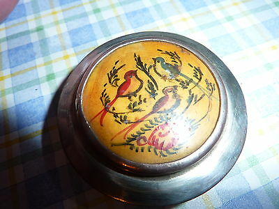 Antique Silver metal  Trinket/ Pill/Snuff box with enamel picture lid....Birds.