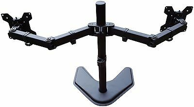 Dual Stand Mount Monitor Desk Screens 2 Lcd Adjustable Up 27'' Two Screen Stand