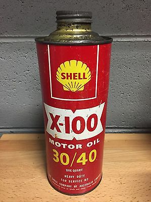 Shell X-100 Oil 30/40 1 Imperial Quart Vintage Tin Can