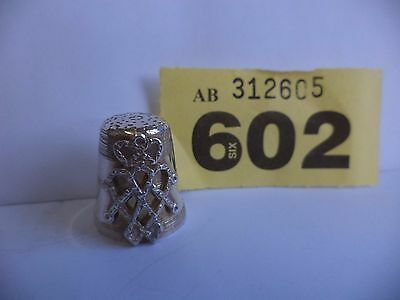 Vintage Solid Silver Thimble with Heart & Crown Decor - Edinburgh / 1980 / PDAC