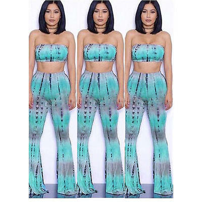 Tie Dye Flared Fashion High Waist Wide Leg Long Pants Trousers with Crop Top