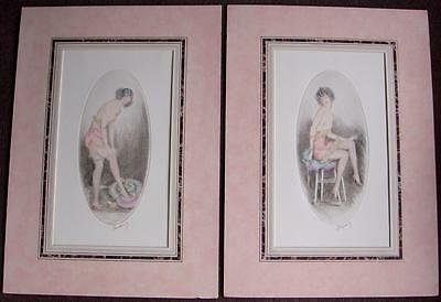 Follower of Louis Icart pair lithographs semi naked young women Art Deco signed