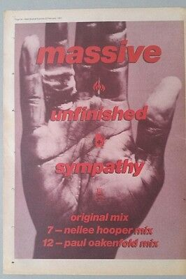 MASSIVE ATTACK UNFINISHED SYMPATHY ORIG NME 1991 Magazine Advert Poster Size #%