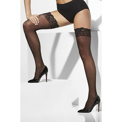 Fever Hold Up Sheer Stockings with Lace Top Black OS