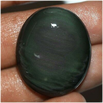36.3 Ct NATURAL FINEST BLACK RAINBOW OBSIDIAN OVAL CABOCHON LOOSE GEMSTONE