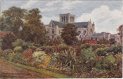 Artist Drawn, Cathedral From Gardens, WINCHESTER, Hampshire - A. R. Quinton