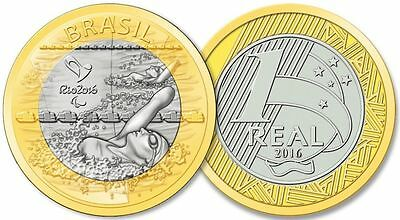 Brazil - 2016 Rio Olympic Games - 1 Real Coin - Paralympic Swimming