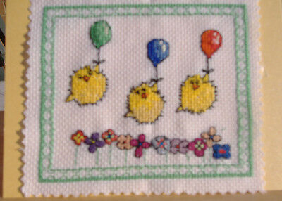 Completed cross stitch card Birthday , Easter or notelet