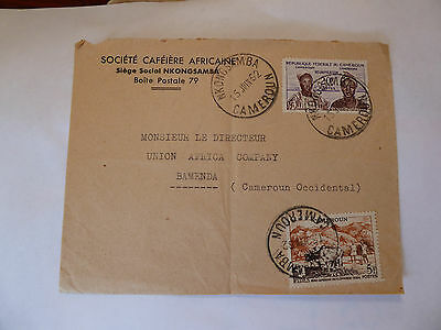Used 20 FR Cameroun stamp first issued 1962 on posted envelope