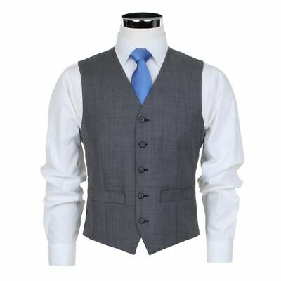 SCOTT Wool Blend Formal Waistcoat in Light Grey in Chest Size 34 to 60, S/R/L