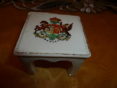 "Arcadian Crested China Model of a ""Stool / Table"" Crest of ""BEXLEY"""