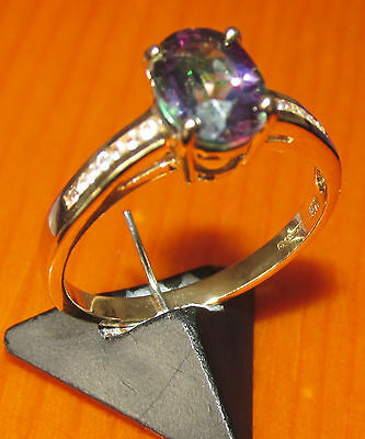 STUNNING SECONDHAND 9ct YELLOW GOLD MISTIQUE & WHITE TOPAZ   RING SIZE N1/2