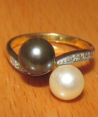 BEAUTIFUL SECONDHAND 9ct YELLOW GOLD BLACK & WHITE PEARL & DIAMOND RING SIZE P