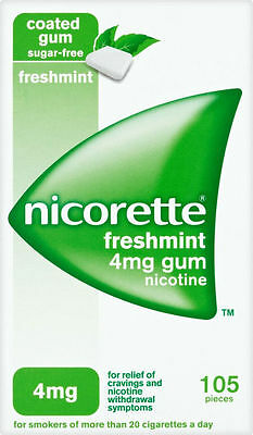NICORETTE 4mg FULL STRENGTH freshmint sugar free gum  105 pieces fresh mint