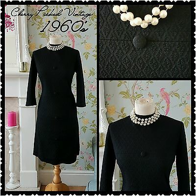 Vintage Black 1960's Jackie O Mod Gogo Scooter Dress Madmen Evening Party UK 16