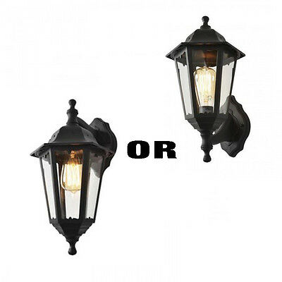 Traditional Polycarbonate Up / Down Outdoor Wall Porch Garden Lantern Black IP44