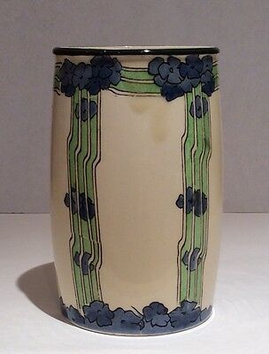 Royal Doulton D2624 small art nouveau vase decorated with blue flowers on green