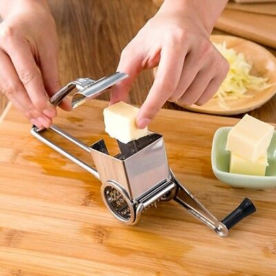 Kitchen Craft Rotary Stainless Steel Cheese Grater 2 Drums Slice Shred