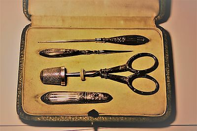 Antique Sewing Set / needle work tools silver & silver plate / rare